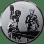 Emblem 50mm 2 Tischtennisspieler, silber