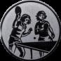 Emblem 50mm 2 Tischtennisspielerinen, silber