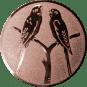 Emblem 50mm 2 Vögel auf Astgabel, bronze
