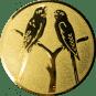 Emblem 50mm 2 Vögel auf Astgabel, gold