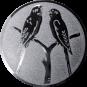 Emblem 50mm 2 Vögel auf Astgabel, silber