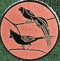 Emblem 25mm 2 Vögel links, bronze