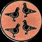 Emblem 25mm 4 Tauben, bronze
