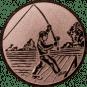 Emblem 50mm Angler beim Wurf, bronze