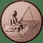 Emblem 50mm Angler im Boot 3D, bronze