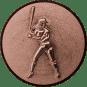 Emblem 50mm Baseball Spielerin, 3D bronze