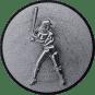 Emblem 50mm Baseball Spielerin, 3D silber
