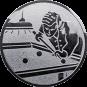 Emblem 50mm Billardspieler rechts, silber