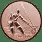 Emblem 25mm Fliegenangerler im Wasser 3D, bronze