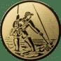 Emblem 50mm Fliegenangerler im Wasser, gold