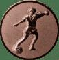 Emblem 25mm Fußballspieler m. Ball, bronze