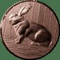 Emblem 25mm Hase 3D, bronze