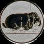 Emblem 25mm Hase mit Schlappohren, silber