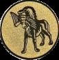 Emblem 25mm Hund apportiet Vogel im Maul, gold
