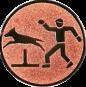 Emblem 25mm Hundesport mit Hindernis, bronze