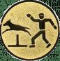 Emblem 25mm Hundesport mit Hindernis, gold