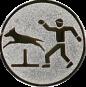 Emblem 25mm Hundesport mit Hindernis, silber
