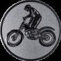 Emblem 50mm Motorrad mit stehendem Fahrer, silber