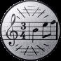 Emblem 50mm Notenschlüssel 3/4, silber
