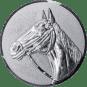 Emblem 25mm Pferd 3D, silber