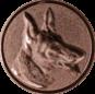 Emblem 50mm Schäferhund 3D, bronze