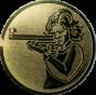 Emblem 50mm Schütze m. Gewehr, gold schießen