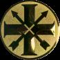 Emblem 50mm Schützenkreuz, gold schießen