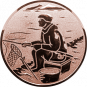 Emblem 25mm sitzender Angler, bronze