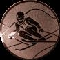 Emblem 50mm Skifahrer in Hocke, bronze