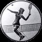 Emblem 50mm Tennisspielerin, silber