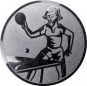 Emblem 50mm Tischtennisspielerin, silber