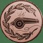 Emblem 50mm Trillerpfeife m. Kranz, bronze