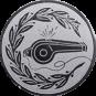 Emblem 50mm Trillerpfeife m. Kranz, silber