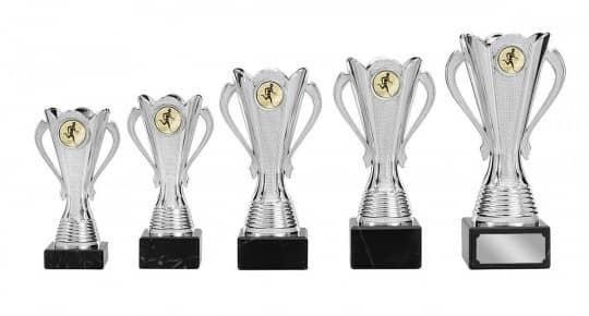 Pokale mit Henkel 5er Serie S126 silber 15 cm
