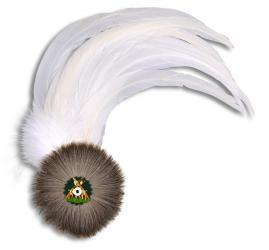 Hahnenschlappe - Schützenfeder mit 12 weißen Federn + Flaum