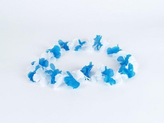 Hawaii Kette Bayern weiß-blau