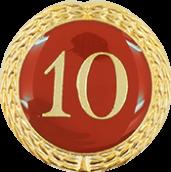Auflage mit Zahl 10 rot