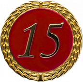 Auflage mit Zahl 15 rot