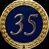 Auflage mit Zahl 35 blau
