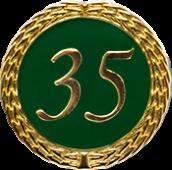 Auflage mit Zahl 35 grün