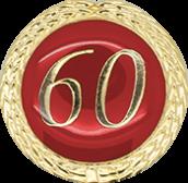 Auflage mit Zahl 60 rot