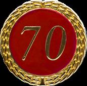 Auflage mit Zahl 70 rot