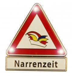 """Warndreieck """"Narrenzeit"""" mit Blinkis"""