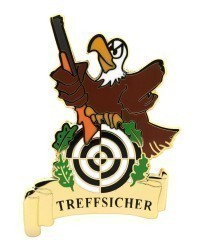 """Pin """"TREFFSICHER"""" Adler mit Gewehr"""