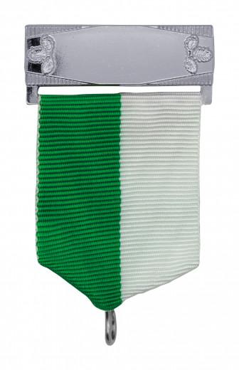 Bandschluppe mit Gravurfeld in silber grün/weiß