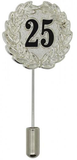 Jubiläumsnadel mit Ehrenkranz und Zahl 25