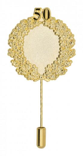 Jubiläumsnadel mit Ehrenkranz und Zahl 50 gold