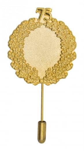 Jubiläumsnadel mit Ehrenkranz und Zahl 75 gold