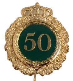 Jubiläumsnadel mit Krone und Motivauflage gold