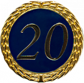 Auflage mit Zahl 20 blau